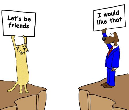disagreement: Cartoon illustration about unlikely friends.