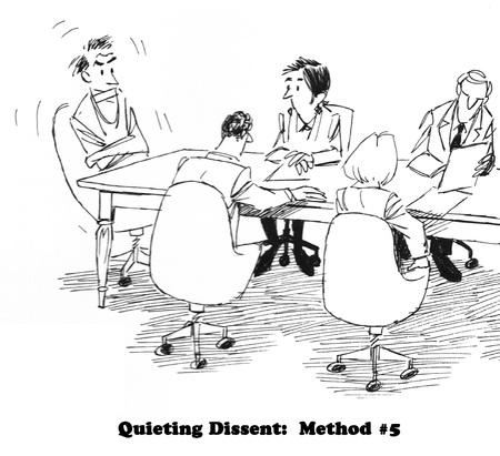 Caricatura de negocios sobre cómo abordar la disidencia. Foto de archivo - 80463432