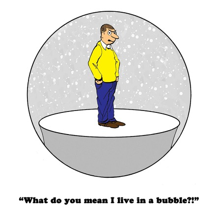liberal: Cartoon about a man who lives in a bubble. Stock Photo