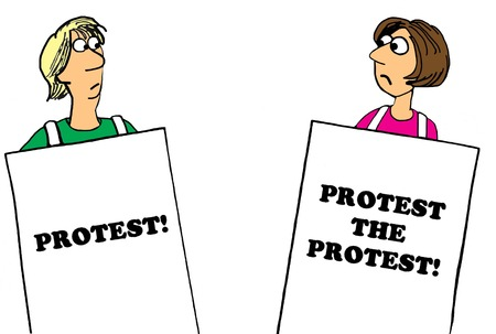 Political cartoon to protest the protest. Stock Photo
