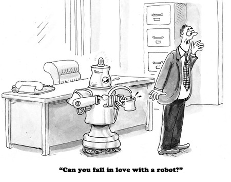 Dessins d'affaires sur l'amour de votre robot personnel. Banque d'images - 80463437