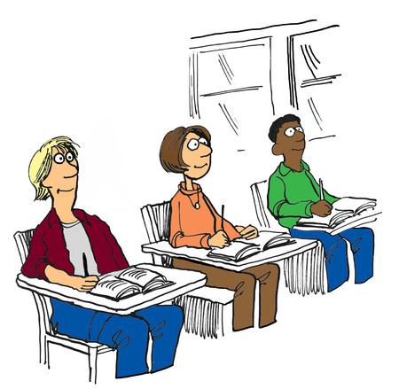 humorous: Education illustration showing three smiling student.