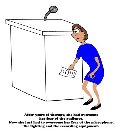 fright: Business cartoon about a businesswoman exhibiting stage fright.