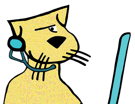 Cartoon illustration of a cat wearing a headset.