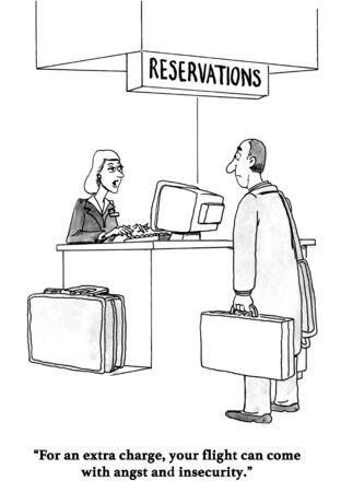 gag: Airline industry cartoon about angst and insecurity. Stock Photo