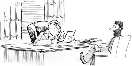 Business cartoon illustration showing two generations of managers in a meeting. Banco de Imagens