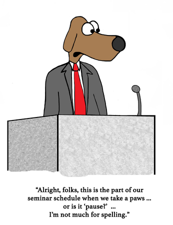 '足' の会議を発表犬スピーカーについてのビジネス漫画。