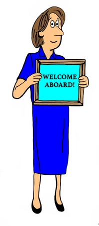 Cartoon illustration of smiling woman holding a sign welcome aboard. Stock Photo