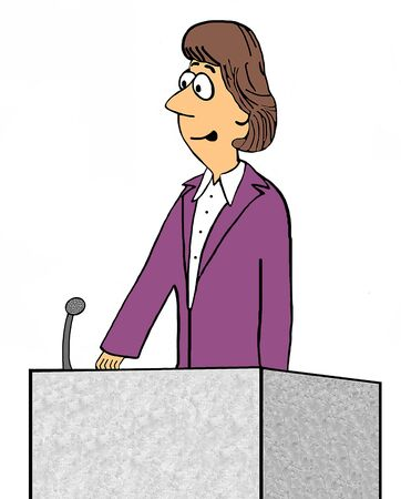 knowledgeable: Business cartoon illustration of business woman speaking at a lectern.