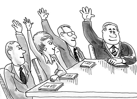 Business cartoon illustration showing people in a meeting with arms raised.