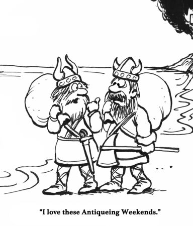 Cartoon about Vikings pillaging a village.