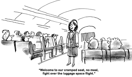 Airline industry cartoon about a no frills flight.