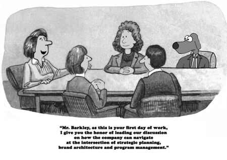intimidating: Business cartoon about an intimidating first day at a new job. Stock Photo