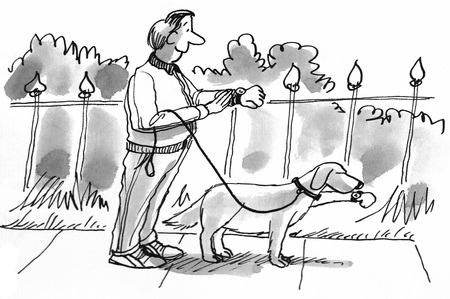 Cartoon illustration of a man and his dog on their daily walk. Imagens