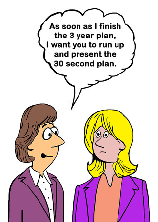 execute: Business cartoon about both a 3 year and a 90 second plan.