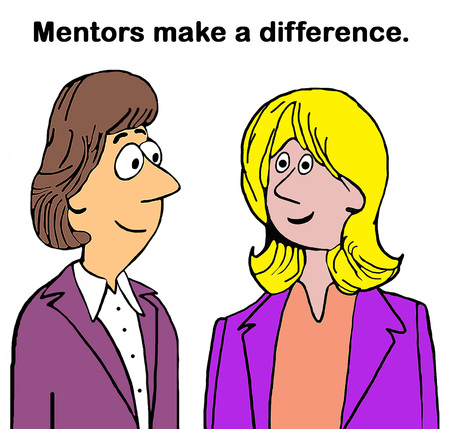 Business cartoon illustration showing two smiling business women and mentors make a difference