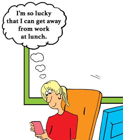 Business cartoon over het nemen van een pauze surfen op het internet op uw smartphone voor lunch. Stockfoto