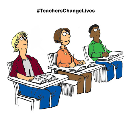 Education cartoon illustration of three attentive students and #teacherschangelives.