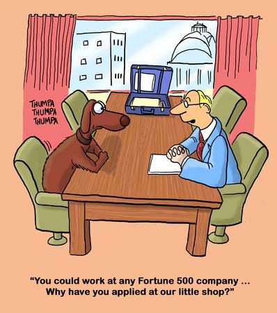 Business cartoon about a job interview.