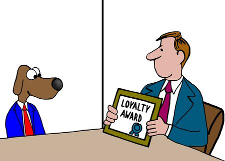 weekly: Business cartoon about receiving the loyalty award.