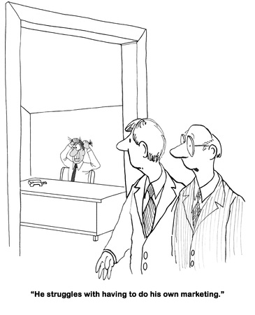 frustrating: Business cartoon about an entrepreneur trying to do marketing. Stock Photo