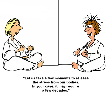 Cartoon about trying to relax during yoga.