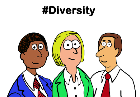 Cartoon illustration showing a diverse group of people and #Diversity.