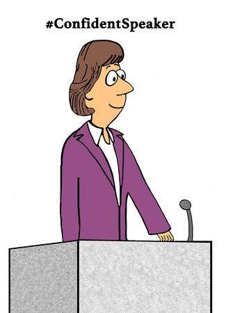 Business cartoon illustration about a #ConfidentSpeaker.