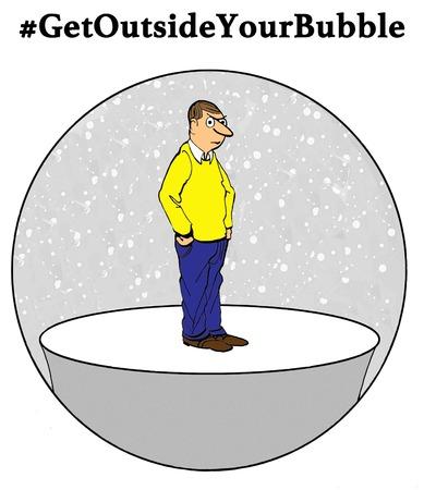 Cartoon illustration of a disgruntled man
