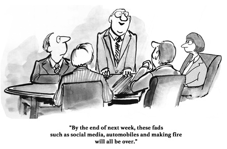 Business cartoon about a manager who thinks social media is a fad. Stock Photo