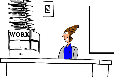 Business cartoon illustration about a stressed businesswoman with too much work to do. Stock Photo