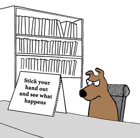 모호한 메시지가 담긴 개에 관한 만화. 스톡 콘텐츠 - 80399987