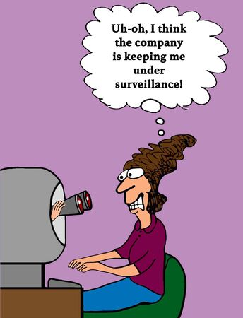 Business cartoon showing binoculars coming out of the computer looking at the user. Stock Photo