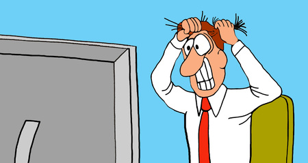 Business cartoon illustration of business man pulling his hair out in reaction to his computer screen.