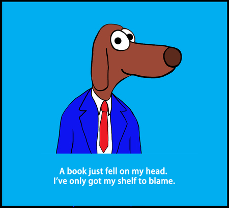 Cartoon illustration of a dog and a pun about blame.