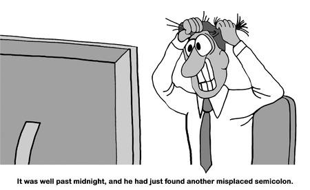 장시간 작업하고 문서의 문법 오류를 찾는 것에 대한 비즈니스 또는 법률 만화. 스톡 콘텐츠