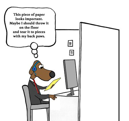 Business cartoon about a worker dog so excited about a paper he wants to shred it. Фото со стока
