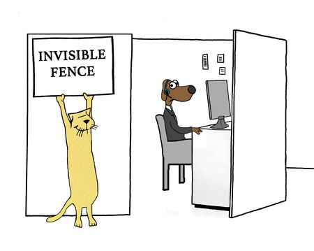 Business cartoon about a worker dog trapped in his cubicle. Banco de Imagens
