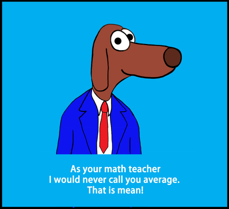 Education cartoon showing a teacher dog and a pun about math. Stock Photo
