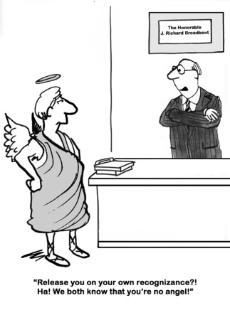Legal cartoon about a judge telling an angel, that he is no angel.