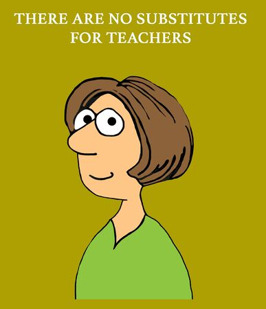 Education cartoon illustration of a woman and praise for teachers.