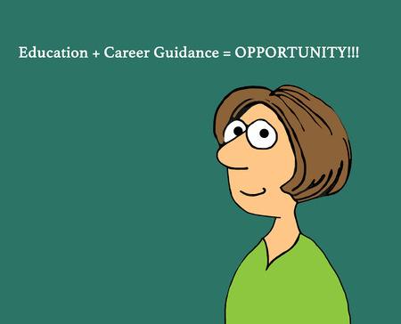 humorous: Education cartoon illustration showing a woman and a phrase about opportunity. Stock Photo