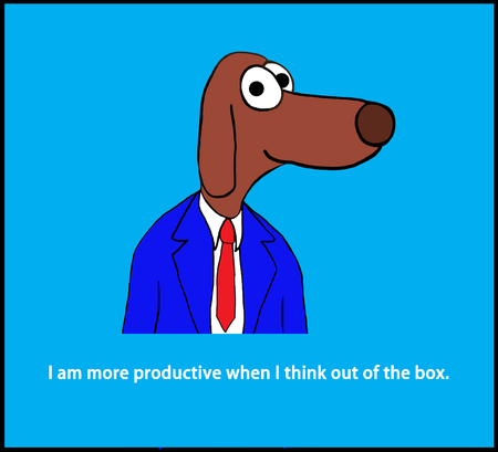 rd: Cartoon illustration of a worker dog and the pun about thinking out of the box. Stock Photo