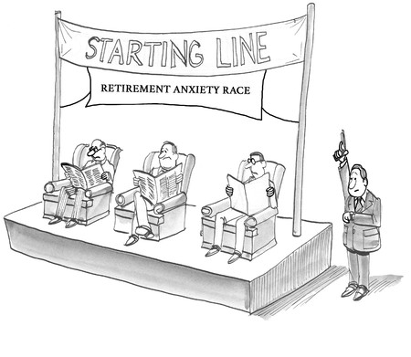 Cartoon illustration about retirement anxiety race.