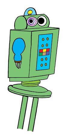 Cartoon illustratie van een defecte robot. Stockfoto