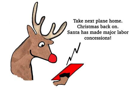 Christmas cartoon about successful labor negotiations with Santa Claus Stock Photo - 82499108