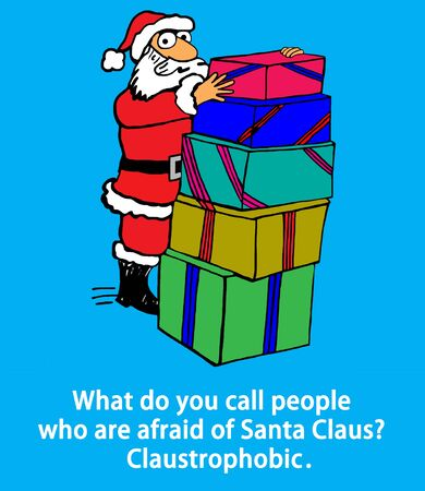 Cartoon illustration of Santa Claus with presents and the pun about claustrophobic Stock Photo