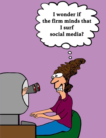 Business cartoon about a company tracking a worker while she surfs social media.