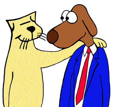 reliable: Cartoon illustration of two unexpected friends, a cat and a dog. Stock Photo