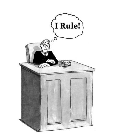Juristische Karikatur über einen Richter, der glaubt, ich regiere. Standard-Bild - 84409464